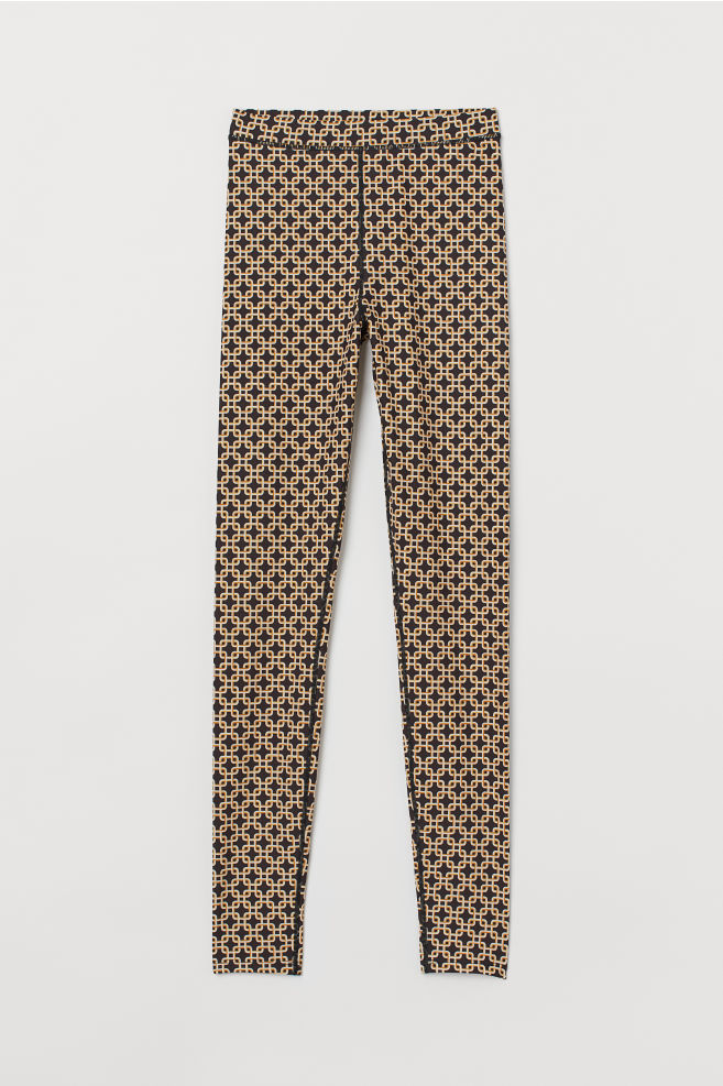 H&M Patterned Leggings - Black/patterned