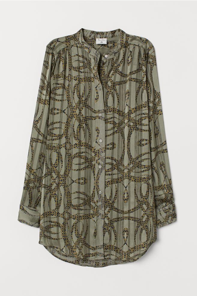 H&M Airy Blouse - Light khaki green/patterned