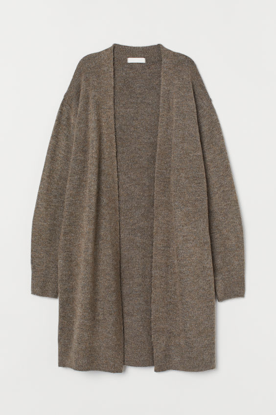 H&M Long Cardigan - Dark taupe