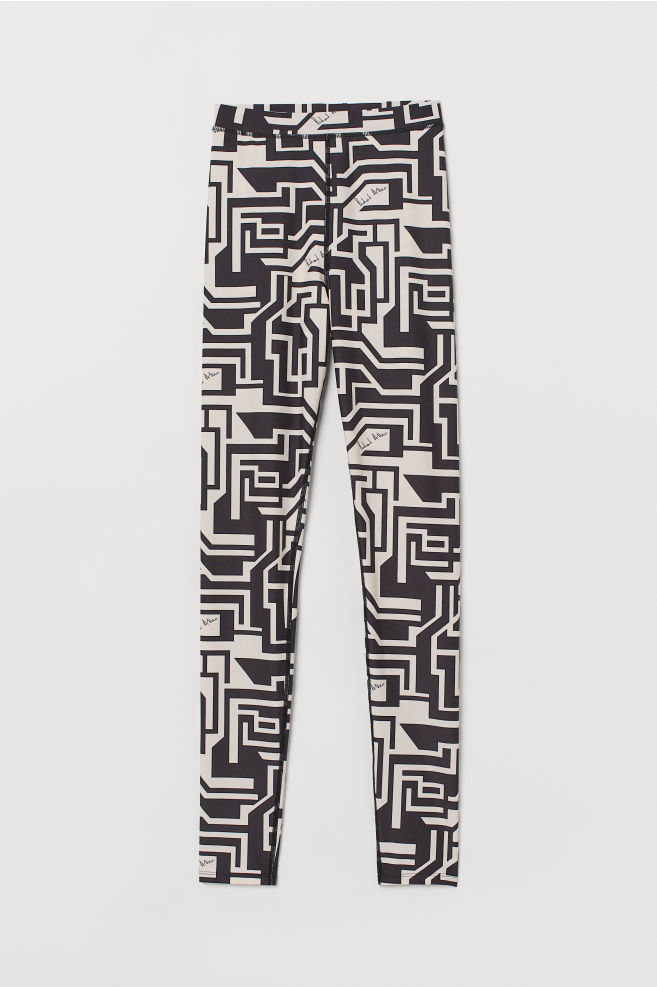 H&M Patterned Leggings - Light beige/patterned