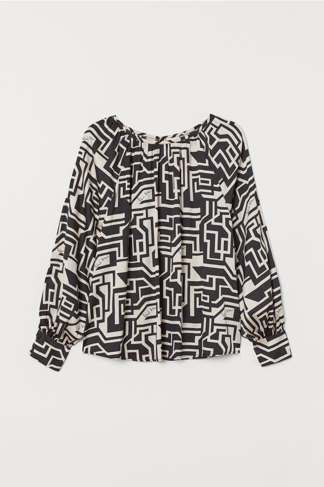 H&M Patterned Satin Blouse - Light beige/patterned