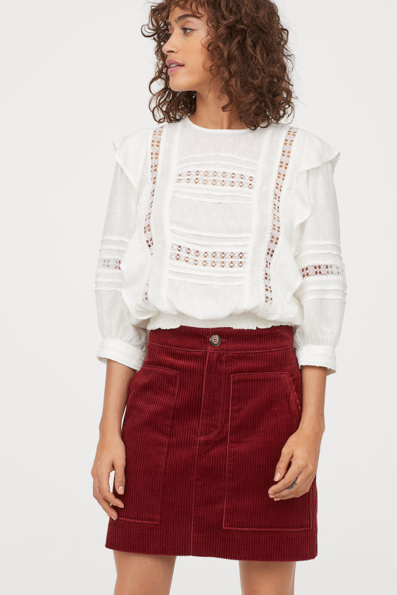OOTD - How to Style your H&M-Corduroy Skirt - Rust red