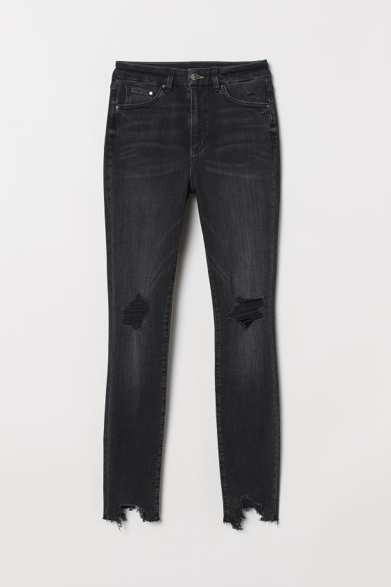 H&M Embrace High Ankle Jeans - Black/trashed