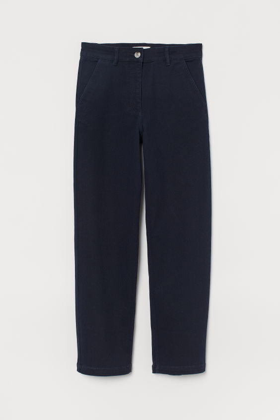 H&M High Waist Twill Pants - Dark blue