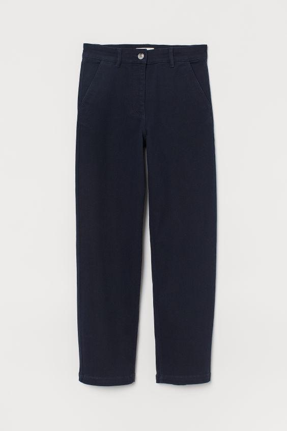 H&M High Waist Twill Pants - Dark blue