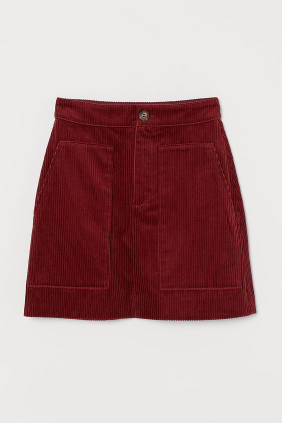 H&M Corduroy Skirt - Rust red