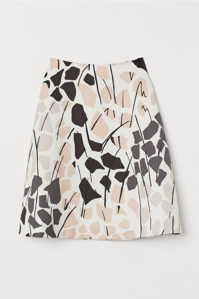 H&M Satin Skirt - Cream/patterned