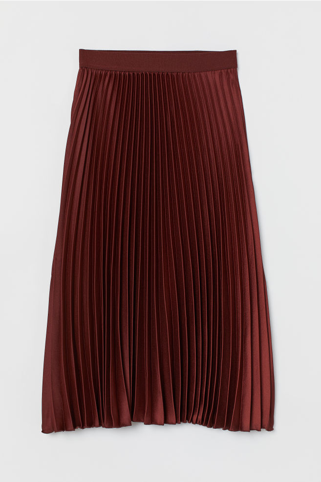 H&M Pleated Skirt - Rust brown