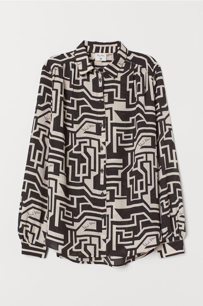 H&M Patterned Blouse - Light beige/patterned