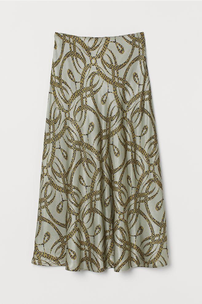 H&M Patterned Satin Skirt - Light khaki green/patterned