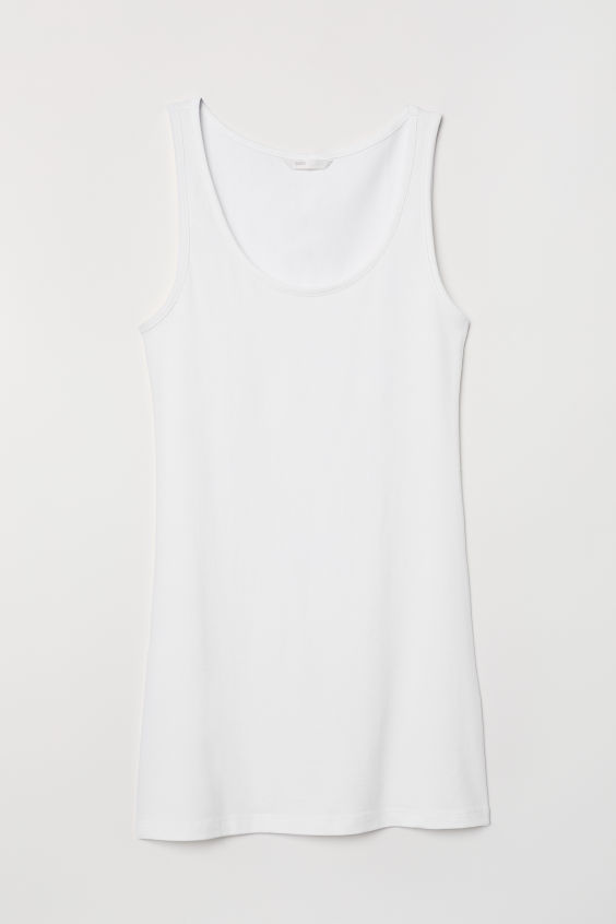H&M Long Jersey Tank Top - White