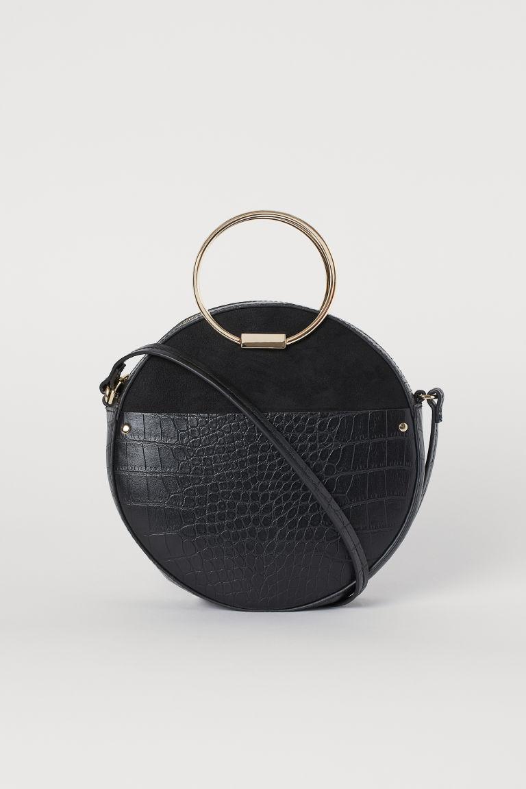H&M Round Shoulder Bag - Black/crocodile