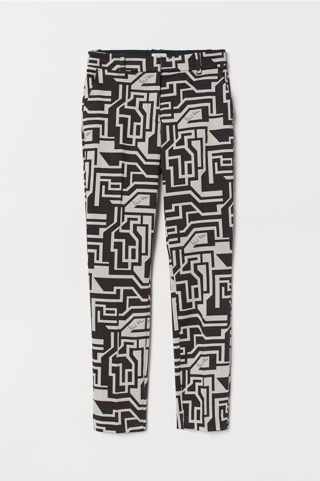 H&M Patterned Slacks - Light beige/patterned