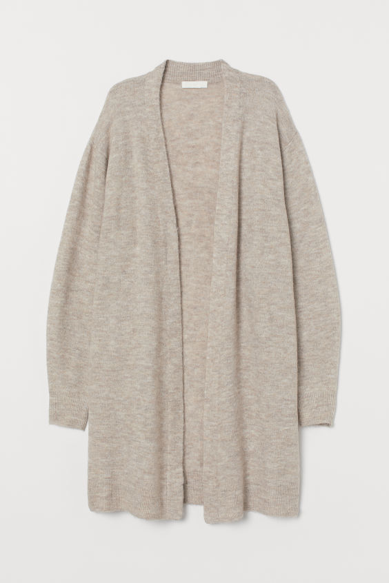 H&M Long Cardigan - Light beige melange