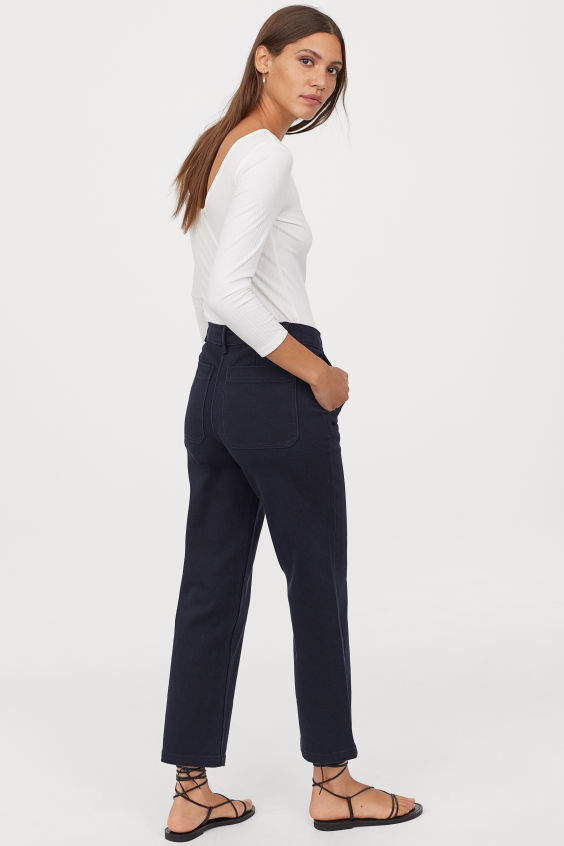 OOTD - How to Style your H&M-High Waist Twill Pants - Dark blue