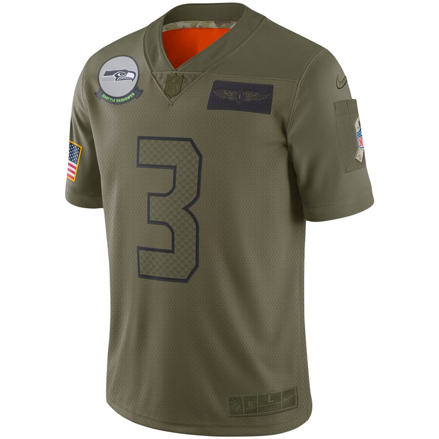 Youth Seattle Seahawks Russell Wilson Nike Olive 2019 Salute to Service Game Jersey- Jersey