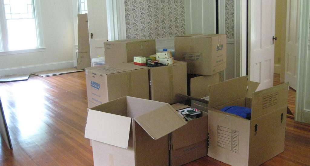 Packed up moving boxes for someone moving into a senior living community