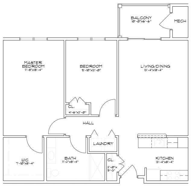 Floor plan of a two bedroom senior apartment in Saratoga Springs, NY