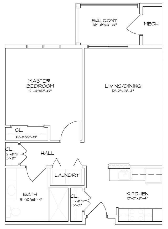 Floor plan of a one bedroom, one bathroom senior apartment in Saratoga Springs, NY