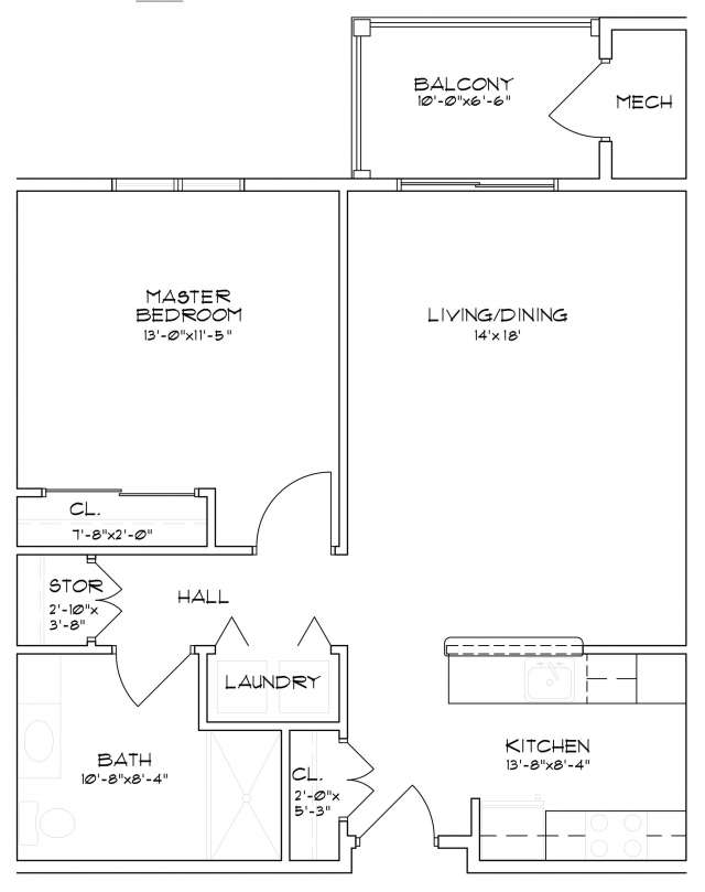 Floor plan of a senior apartment in Saratoga Springs, NY with one bedroom and one bathroom