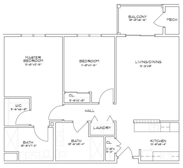 Floor plan of a two bedroom, two bathroom senior apartment in Saratoga Springs, NY