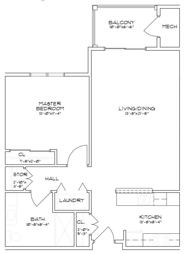 Saratoga Springs, NY senior apartment floor plan with one bedroom and one bathroom