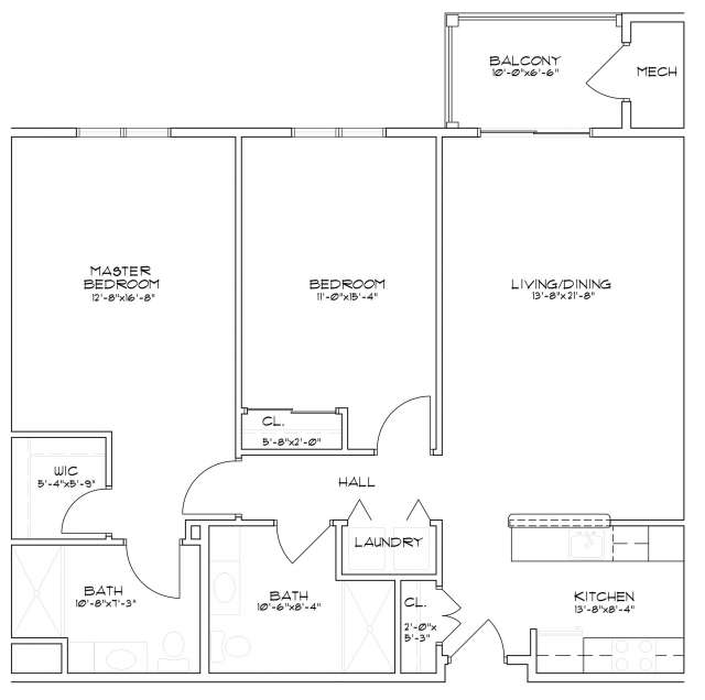 Floor plan for a senior apartment with two bedrooms and two bathrooms in Saratoga Springs, NY