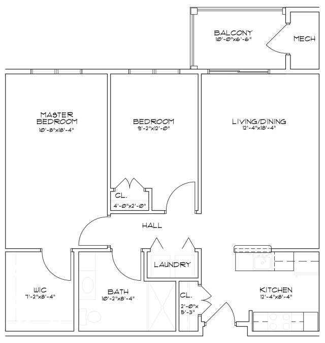 Floor plan of a senior apartment in Sarasota Springs, NY that has two bedrooms and one bathroom
