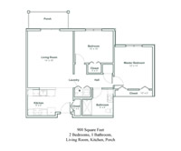 floor plan of a two bedroom senior apartment in North Greenbush, New York