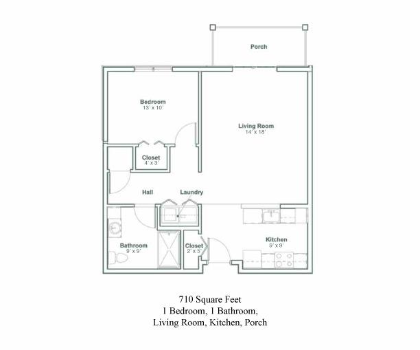 Floor plan for a one bedroom, one bathroom senior apartment in North Greenbush, New York