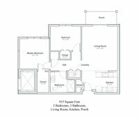 Floor plan of two bedroom senior apartment in North Greenbush, New York