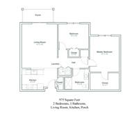 two bedroom senior apartment floor plan in North Greenbush, New York