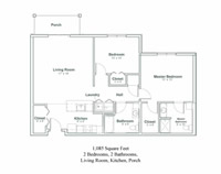 Floor plan of a North Greenbush, New York senior apartment with two bedrooms