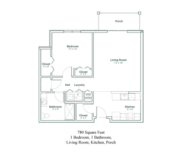 Floor plan of a one bedroom, one bathroom senior apartment in North Greenbush, NY