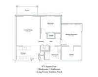 Floor plan of a two bedroom, one bathroom senior apartment in North Greenbush, NY