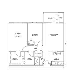 Floor plan for a two bedroom, one bathroom senior apartment in Glenville, New York