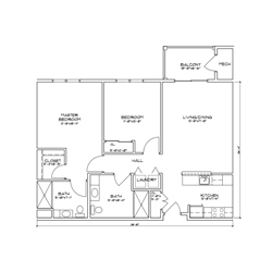 Floor plan for a two bedroom, two bathroom senior apartment in Glenville, New York