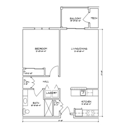 Floor plan of a one bedroom, one bathroom senior apartment in Glenville, New York