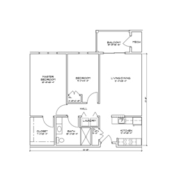 Floor plan of a one bedroom, one bathroom senior apartment with a balcony in Glenville, New York