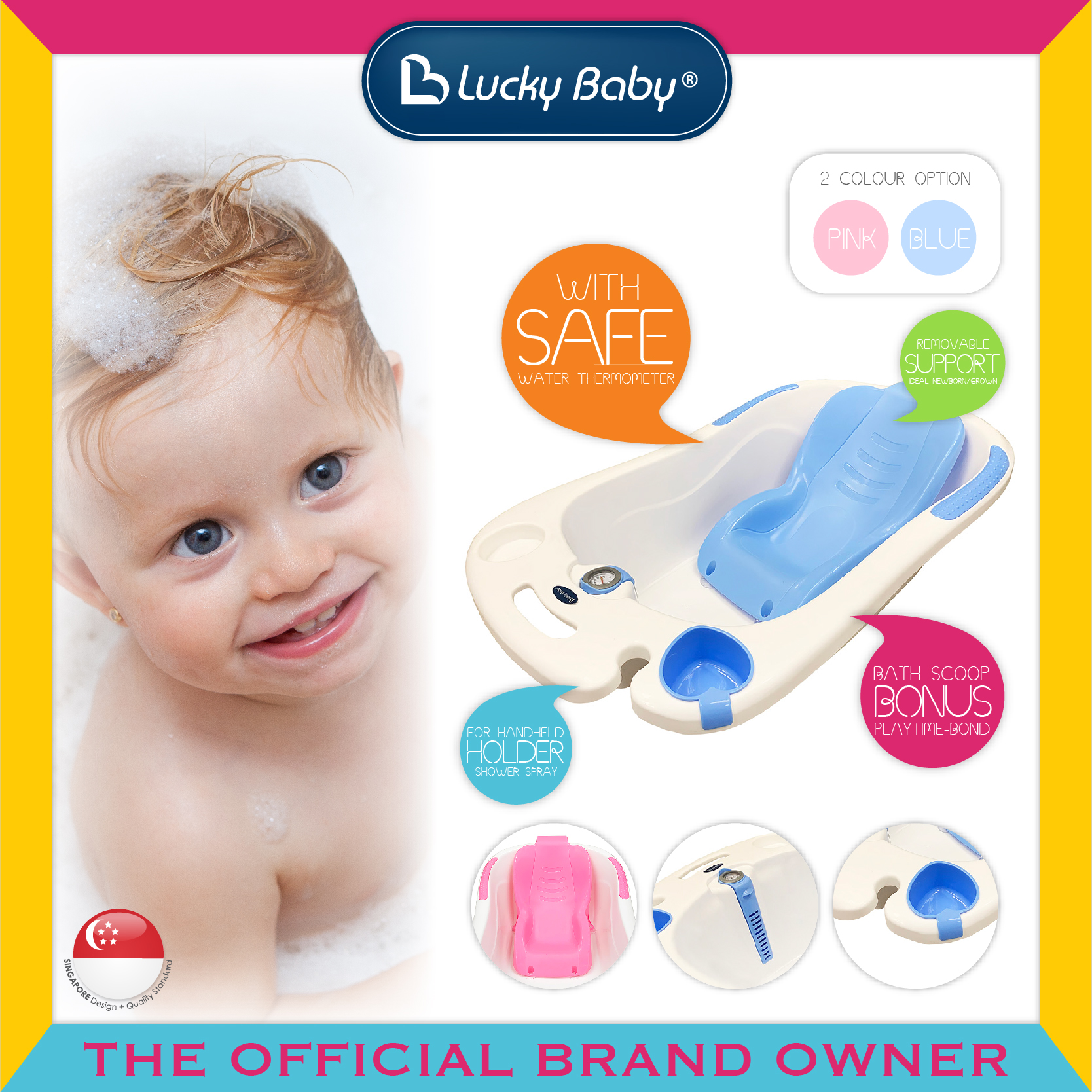 Lucky Baby® Bobee™ Bath Tub W/Thermometer (2 Co