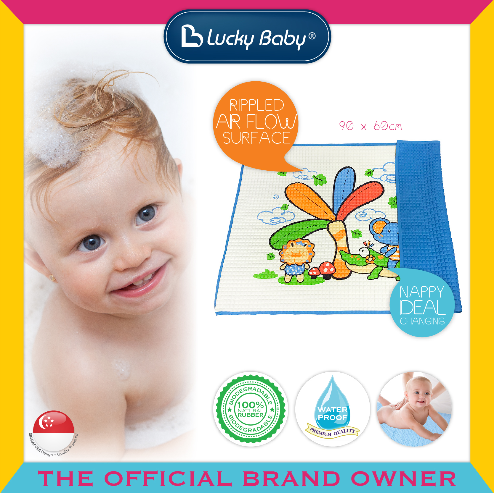 Lucky Baby® Air-Filled™ Rubber Cot Sheet(Printe