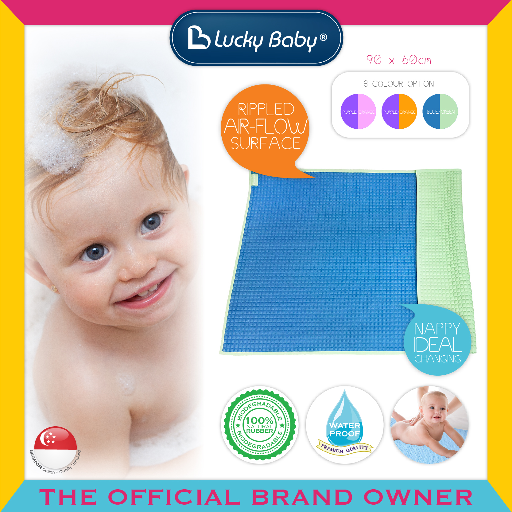 Lucky Baby® Air-Filled™ Rubber Cot Sheet (3 Col