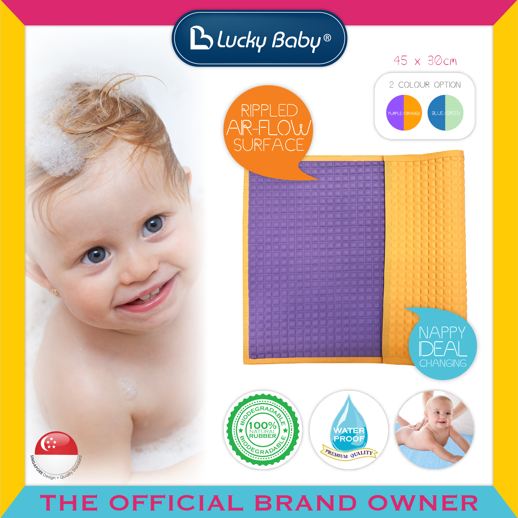Lucky Baby® Air-Filled™ Rubber Cot Sheet (2 Col