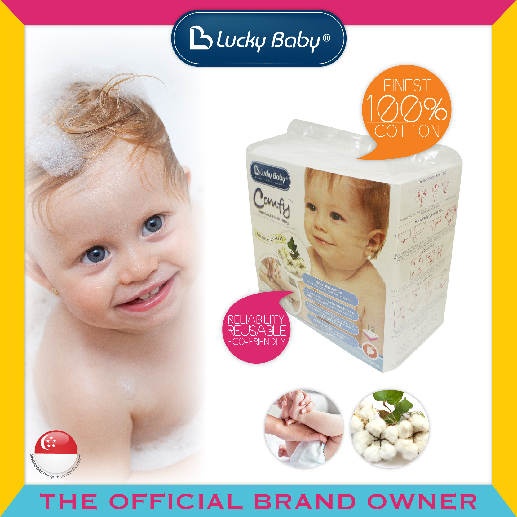 Lucky Baby® Comfy™ Napee GAUZE Cloth Nappy