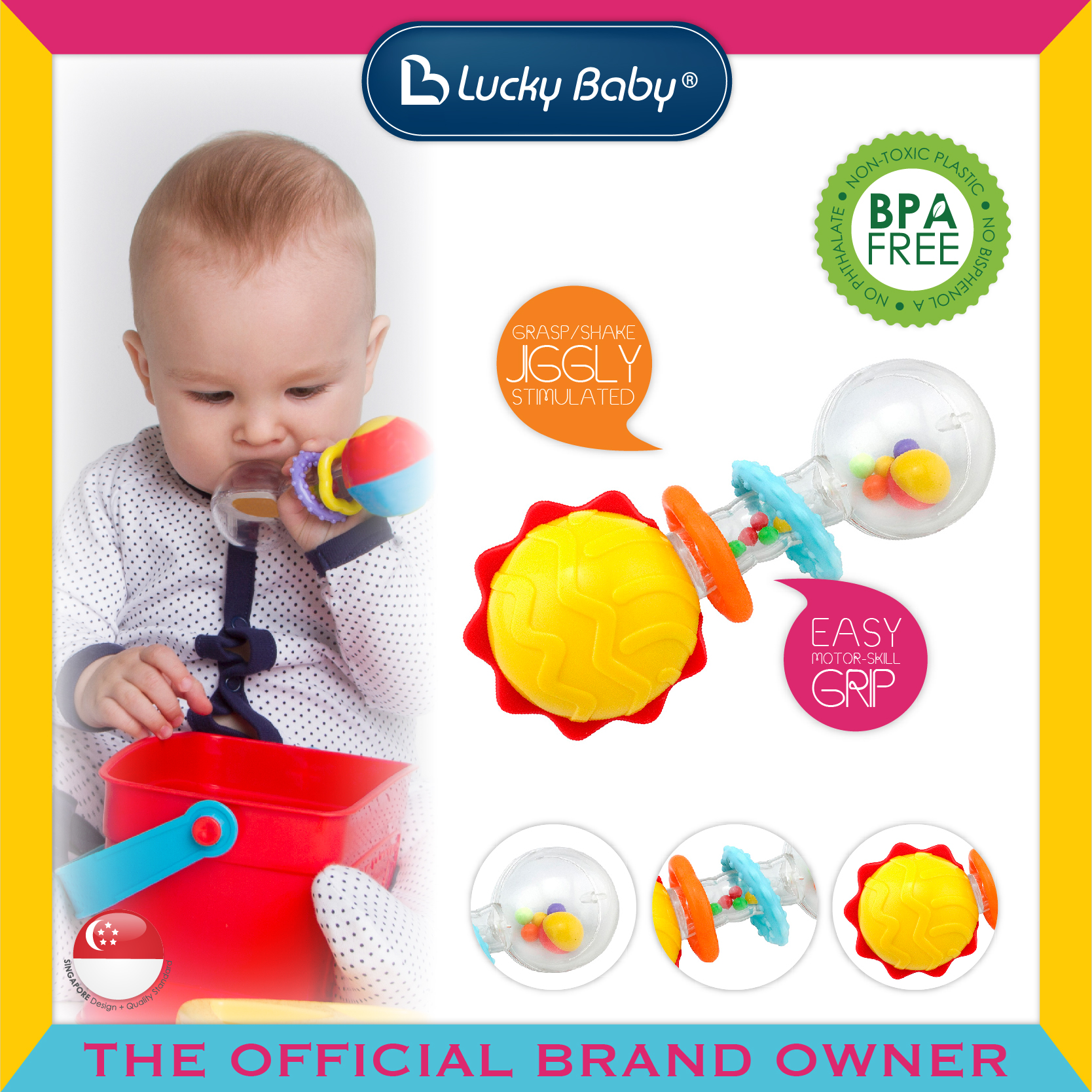 Lucky Baby® Totter™ Shaker Rattle - Sun