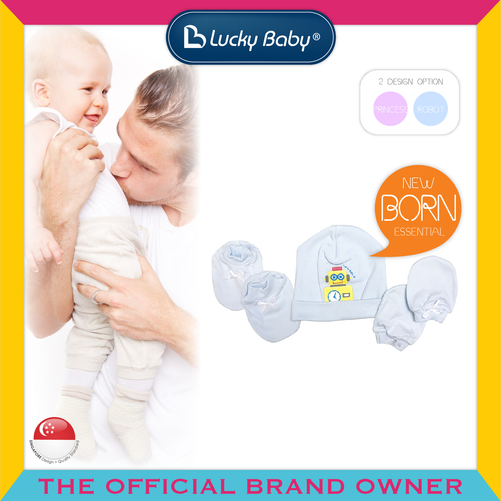 Lucky Baby® Hat, Mitten & Bootees Set - Robot