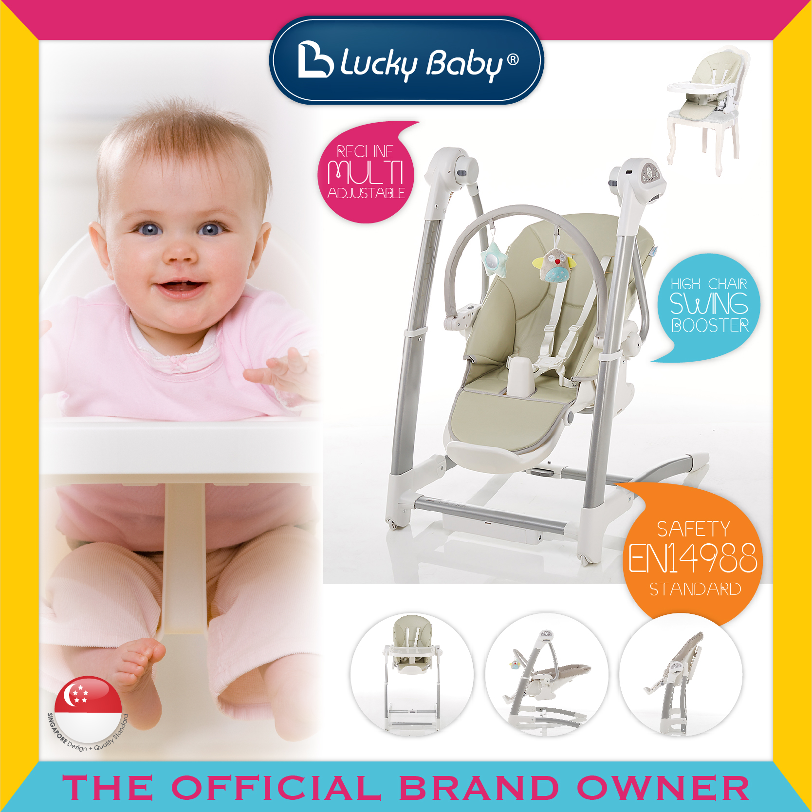 Lucky Baby® Trio™ Baby Highchair/Swing/Booster