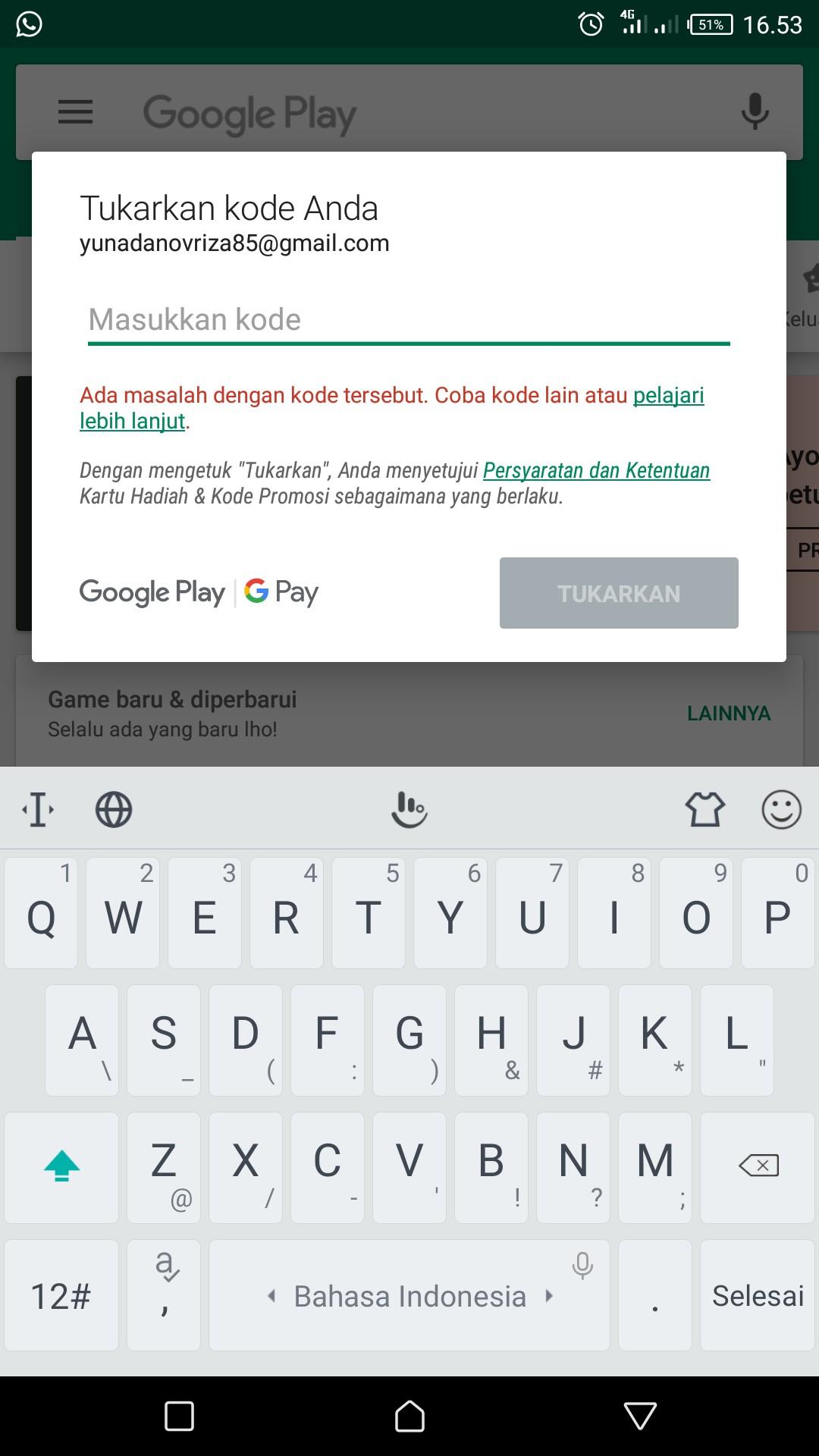 Tukar Kode Google Play Tidak Bisa Knp Ya Di Notifikasi Ada Masalah Dengan Kode Tersebut Coba Kode Komunitas Google Play
