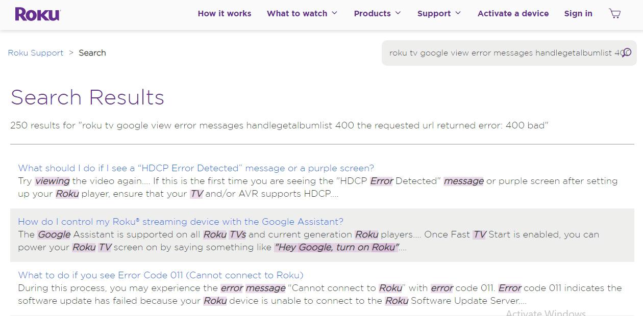 Roku TV Google View error messages handleGetAlbumList 400 The