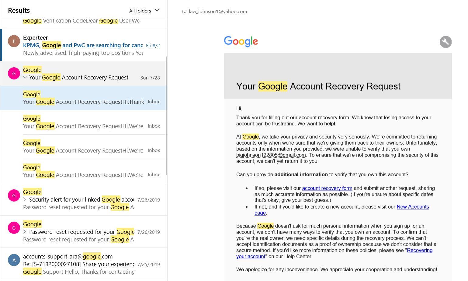 Password Reset Request Gmail